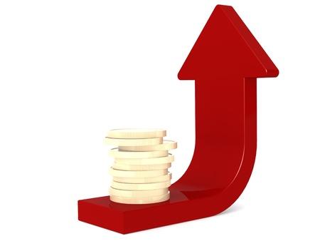 gold bar earn: Coin with arrow Stock Photo
