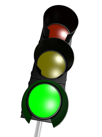 Traffic light with green on photo