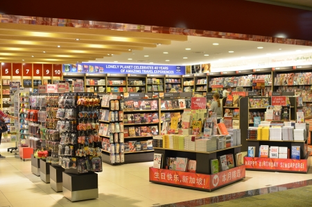 Book shop in Changi Airport, Singapore