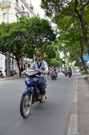 shopping buggy: Cyclist in Vietnam street