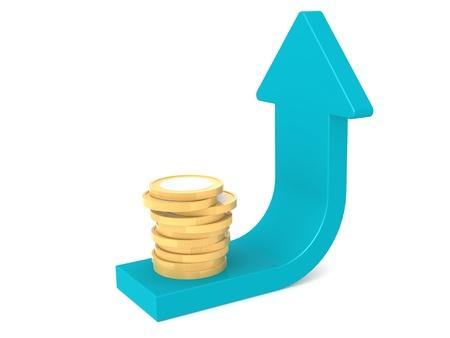 gold bar earn: Coin and blue arrow