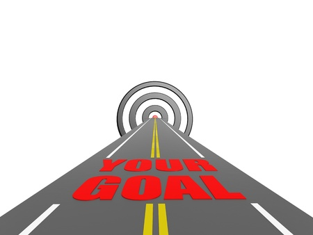 forked road: Road your goal Stock Photo