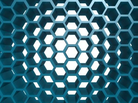 Blue hexagon pattern photo