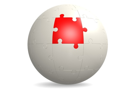 White round puzzle with red photo