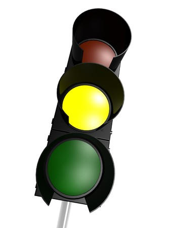Traffic light with yellow on photo