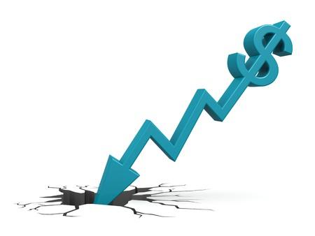 failure sign: Blue dollar down to ground Stock Photo