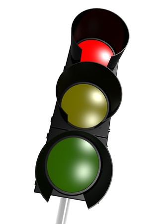 Traffic light with red on photo
