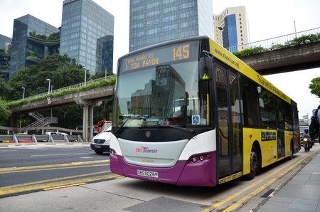 tourists stop: Public bus in Singapore