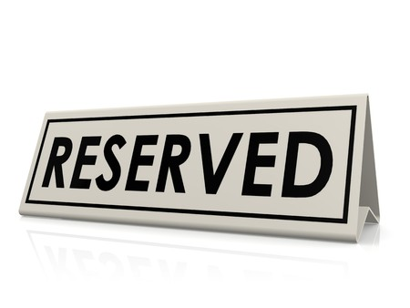 wedding table setting: Reserved table sign
