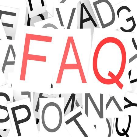 textcloud: FAQ word cloud Stock Photo