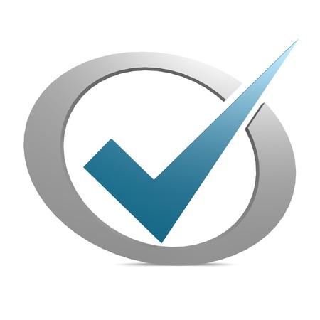 navigation mark: Blue tick in circle Stock Photo