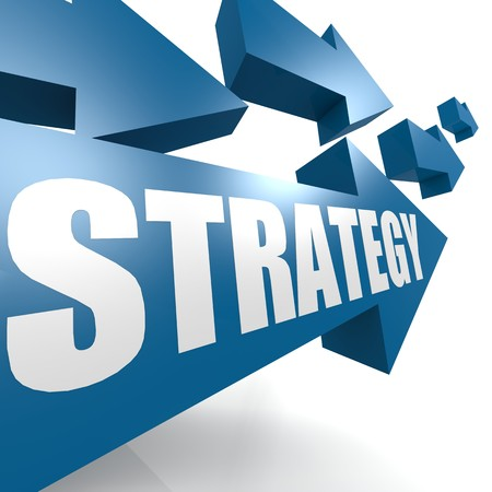 Strategy arrow in blue photo