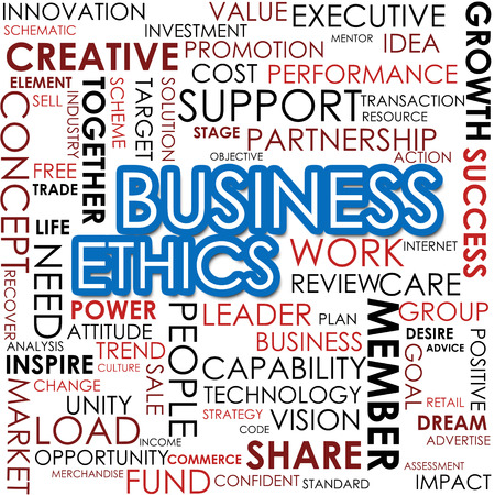 conflict theory: Business ethics word cloud cloud image with hi-res rendered artwork that could be used for any graphic design. Stock Photo