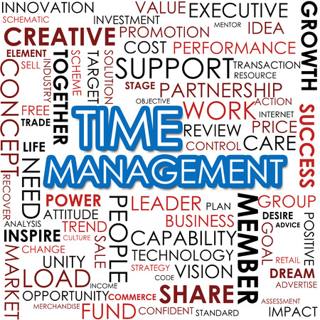 prioritizing: Time management word cloud image with hi-res rendered artwork that could be used for any graphic design. Stock Photo