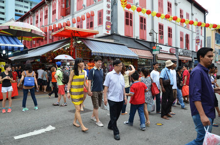 bustling: Bustling street of Chinatown district in Singapore.