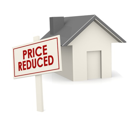 better price: Price reduced banner with house Stock Photo
