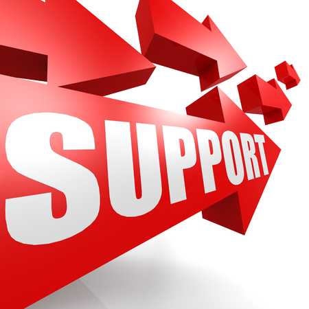 Support arrow in red photo