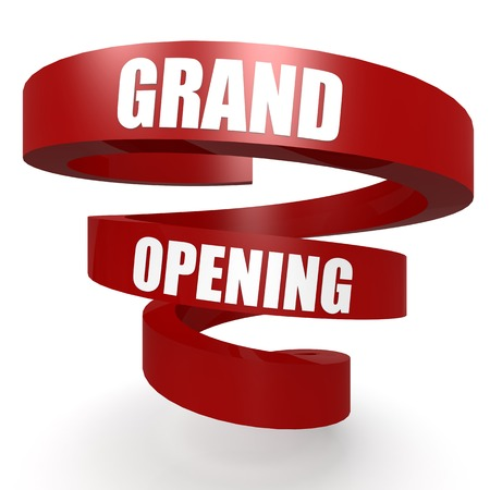 grand sale sticker: Grand opening red helix banner