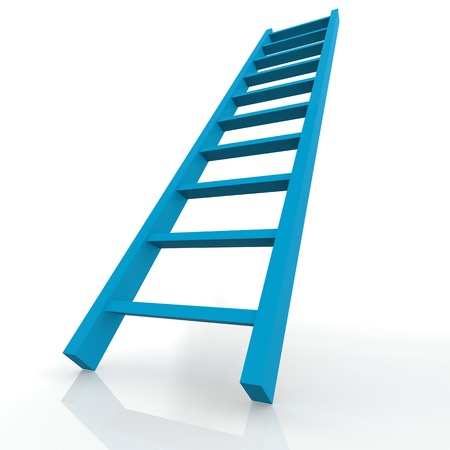 backstairs: Blue ladder
