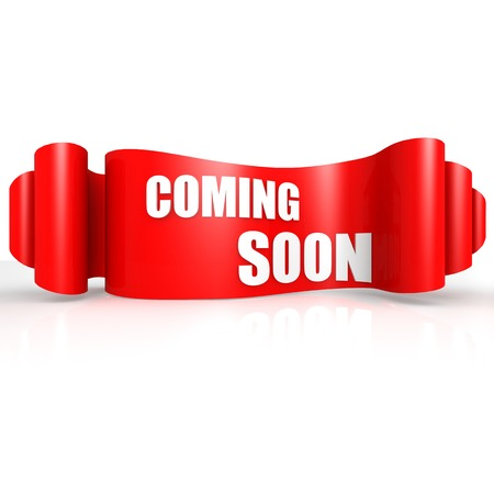Coming soon red wave ribbon