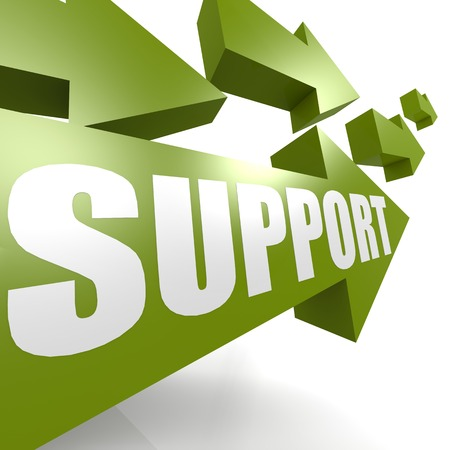 Support arrow in green photo