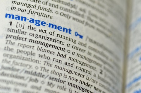 Management word on the book photo