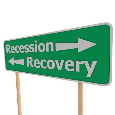 road to recovery: Recession recovery road sign Stock Photo