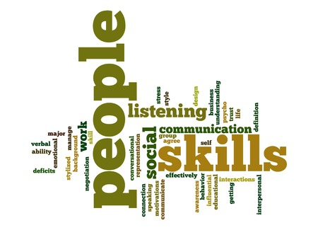 psycho social: People skills word cloud Stock Photo