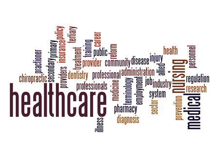 health care provider: Healthcare word cloud Stock Photo