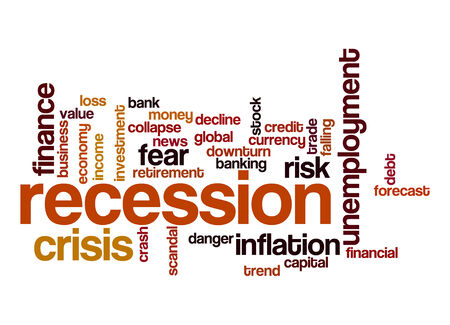 decline in values: Recession word cloud