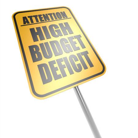 High budget deficit road sign photo