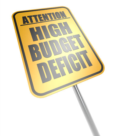 deficit: High budget deficit road sign