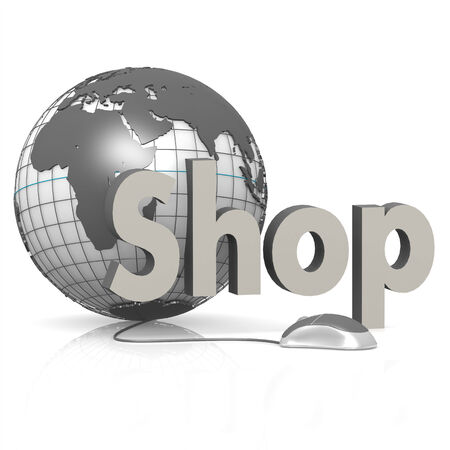 Shop, globe and mouse photo