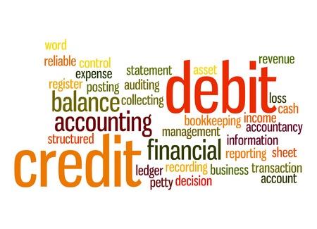Credit debit word cloud Stock Photo