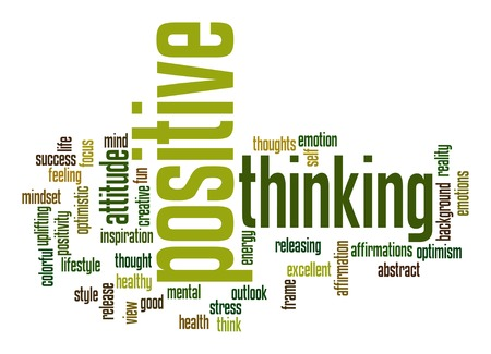 Positive thinking word cloud Stock Photo