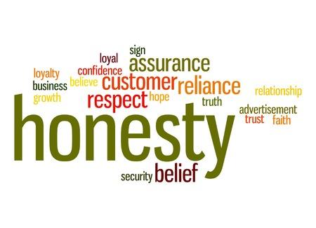 honestidad: Honestidad nube de palabras Foto de archivo
