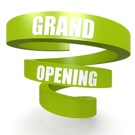 shop opening hours: Grand opening green helix banner
