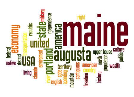 maine: Maine word cloud Stock Photo