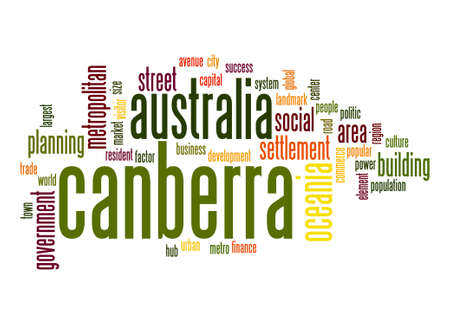 canberra: Canberra  word cloud Stock Photo