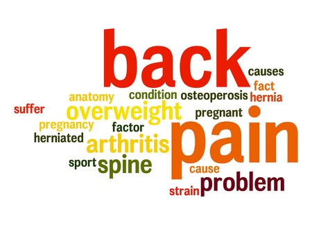 causes: Back pain word cloud Stock Photo