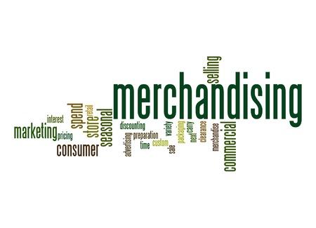discounting: Merchandising word cloud Stock Photo