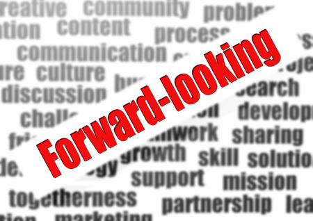 idealistic: Forward-looking word cloud Stock Photo
