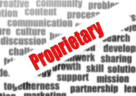 proprietary: Proprietary word cloud Stock Photo