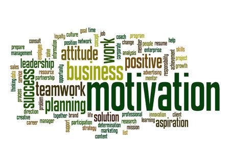 Motivation word cloud Stockfoto