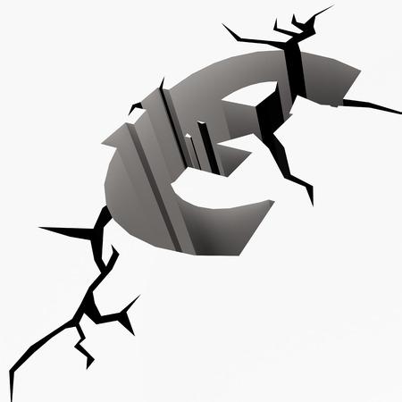 fissure: Crack terre symbole de l'euro