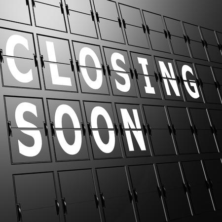 Airport display closing soon Standard-Bild