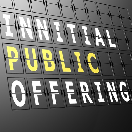 initial public offering: Airport display initial public offering