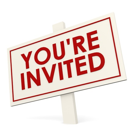 invited: You re invited white banner Stock Photo