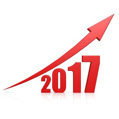 2017 Wachstum roten Pfeil Standard-Bild - 29116378