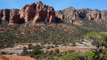 Bell Rock is a popular tourist attraction just north of the Village of Oak Creek, Arizona. photo
